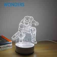 new cool 3d bulb skull baymax iron man darth vader spiral wood mood led table lamp night light best gift best mood lighting