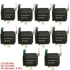 1/<b>2</b>/5/<b>10pcs 30A</b> AMP Fuse 12V DC 4 Pin Automotive Power Relay ...