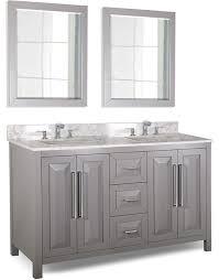 bathroom vanity 60 inch: hardware resources cade contempo double  inch grey transitional bathroom vanity