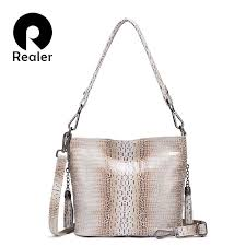 REALER <b>genuine</b> leather Hobo bag <b>women shoulder bag</b> tote ...