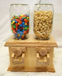 hand made double wooden candy dispenser m peanut skittles snack wood candy dispenser build diy mason