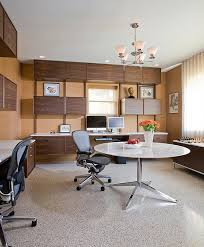 view in gallery custom floating cabinets and desks along with midcentury modern decor for basement home office basement home office ideas