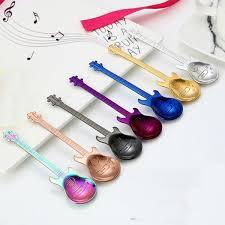 <b>Stainless Steel</b> Guitar Shaped Spoons <b>Dessert Ice Cream</b> Coffee ...