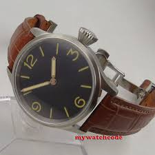 brushed <b>43mm PARNIS black dial</b> sapphire glass hand winding ...