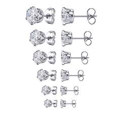 Amazon.com: Jstyle Jewelry Women's <b>Stainless Steel Round</b> Clear ...