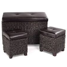 BeUniqueToday <b>3 pcs</b> Rattan Seating <b>Storage Bench</b> Hassocks ...
