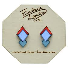 <b>Classic</b> Geometric Stud Earrings - <b>Orange Red</b>/ Bright <b>Blue</b>/ Teal ...