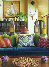 bohemian living room keep true blue couch mismatched color and patterned pillows plants bohemian style living room