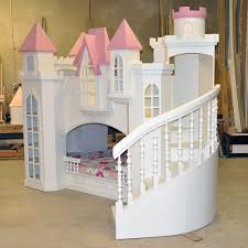 white wooden bunk bed with castle form combined pink roof and f stairs placed on the beauteous kids bedroom ideas furniture design