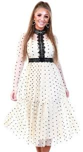 Tfnc Cream Polka Dot <b>Mesh Pleat Dress</b> | | Shop the latest fashion ...
