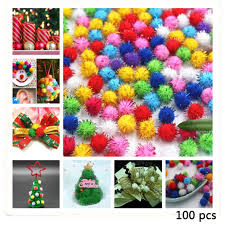 <b>100pcs DIY</b> Craft Pompoms Soft Fluffy Glitter Balls Felt <b>Card DIY</b> ...