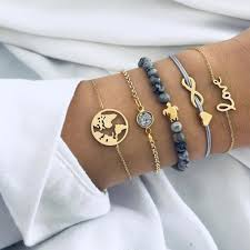 17IF <b>Vintage Turtle Heart</b> Map Charm Bracelets Set For Women ...