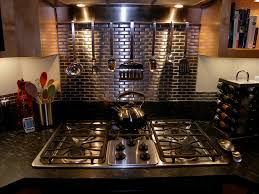 kitchen backsplash stainless steel tiles: stainless steel tile backsplash kitchen contemporary with  tone air gap appliances