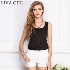 LIVAGIRL Hot Sale <b>Slim Women Tank Tops</b> Casual Thin Light Basic ...