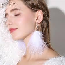 <b>2019</b> Drop Earrings <b>Limited Brincos</b> Earing Long Dangle Feather ...