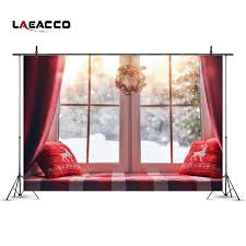<b>Laeacco</b> Christmas Wreath Decor Bay Window Snow Scenic ...