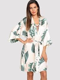 <b>Домашний халат с рисунками</b> тропических листьев и с поясом ...