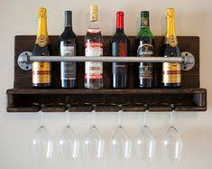 Industrial Rustic Modern 8 Bottle <b>Wine Rack</b> with 6 Glass Slot Holder ...