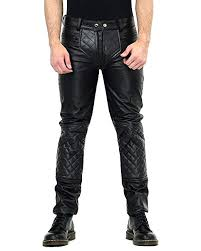 Bockle® Big Checker Quilted <b>Black Cow Hide Leather</b> Pants for <b>Men</b> ...