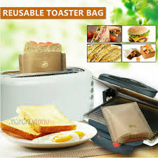 2Pcs Toaster Bags Grilled Cheese Sandwiches <b>Reusable Non-stick</b> ...