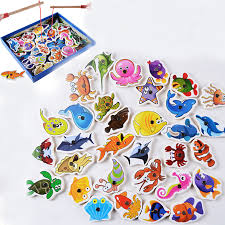 Wooden Fishing <b>Toys Magnetic</b> Set Fish Game <b>Baby</b> Early ...