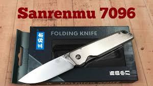 <b>Sanrenmu</b> 7096 Framelock Knife 12C27 <b>Sandvik</b> Blade Slender ...