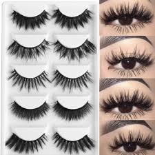 <b>5 Pairs</b> Multipack <b>3D Soft</b> Mink Hair False Eyelashes Handmade ...
