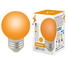 (UL-00005650) <b>Volpe E27 1W</b> оранжевая <b>LED</b>-<b>G45</b>-<b>1W</b>/ORANGE ...