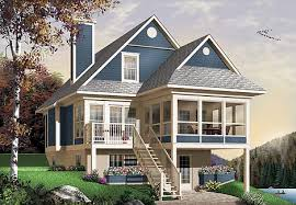 Lake House Plans  amp  Home Designs   The House Designersimage of The Cliffside House Plan