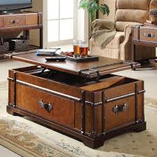 room vintage chest coffee table: trunk coffee table lift top leather handles engineered wood concealed storage ebay