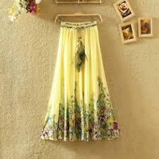 <b>Sheran</b> maxi skirt long skirts casual elastic waist chiffon <b>plus size</b> ...