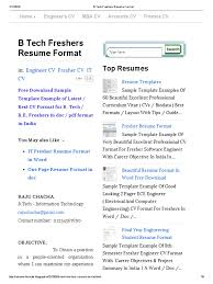 b tech freshers resume format freshman engineer