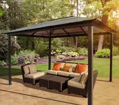 Image Of Comfortable Outdoor Metal Gazebos Patio With Polymer Flat Roof Covering Also A Set