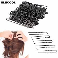 ELECOOL 50Pcs Black Metal Hairstyling Thin <b>Shape U</b> Clips 5cm ...
