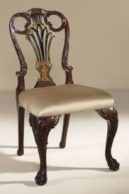 smith dining room lacienega finished carved antique mahogany and black chinoiserie finished side chair pair