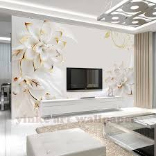 Large 3D <b>murals wall</b> paper white <b>hand painted</b> Flower Papel ...