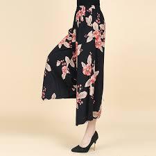 Casual Dancing Flower Print <b>Loose Wide Leg</b> Trouse Pant for <b>Women</b>