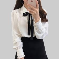 Bow Shirts <b>Woman</b> Long Sleeve Button Chiffon Blouse <b>Women</b> ...