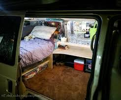 van turned dorm room complete with bed and desk bedroom converted home