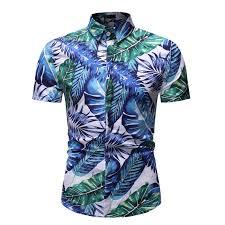 YOONHEEL Short-sleeved Shirt Summer New <b>Mens</b> Casual Printed ...