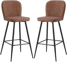 Set of <b>2 bar stools</b> made of artificial leather in antique leather look ...