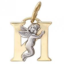"""<b>Подвеска Буква</b> """"И"""" <b>из комбинированного</b> золота, ангелочки (без ..."""
