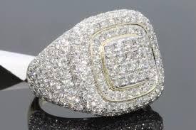<b>14K Gold Full Diamond</b> Rings for Men Hip hop Peridot Gemstone ...