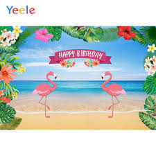 <b>Yeele Tropical</b> Flamingo Birthday Party Poster Sea Beach Flowers ...