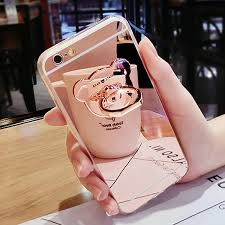 Luxury <b>Soft</b> Mirror With 360 Metal Bear <b>Ring Case Cover For</b> iPhone ...