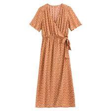 <b>Платье длинное с</b> цветочным принтом рисунок/фон оранжевый ...
