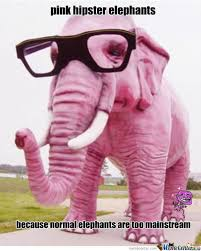 Pink Hipster Elephant by hankypanky1987 - Meme Center via Relatably.com