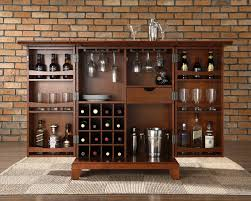 expandable bar cabinet in classic cherry finish made of mahogany wood having 16 cube bottle racks bar furniture designs