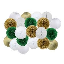 "New <b>21pcs</b>/<b>set</b> Gold/Silver/White Mixed 8"" 10"" Round Paper Lantern ..."