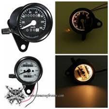 DC 12V Universal <b>Motorcycle Speedometer Odometer Dual</b> LED ...